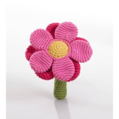 Flower rattle - pink